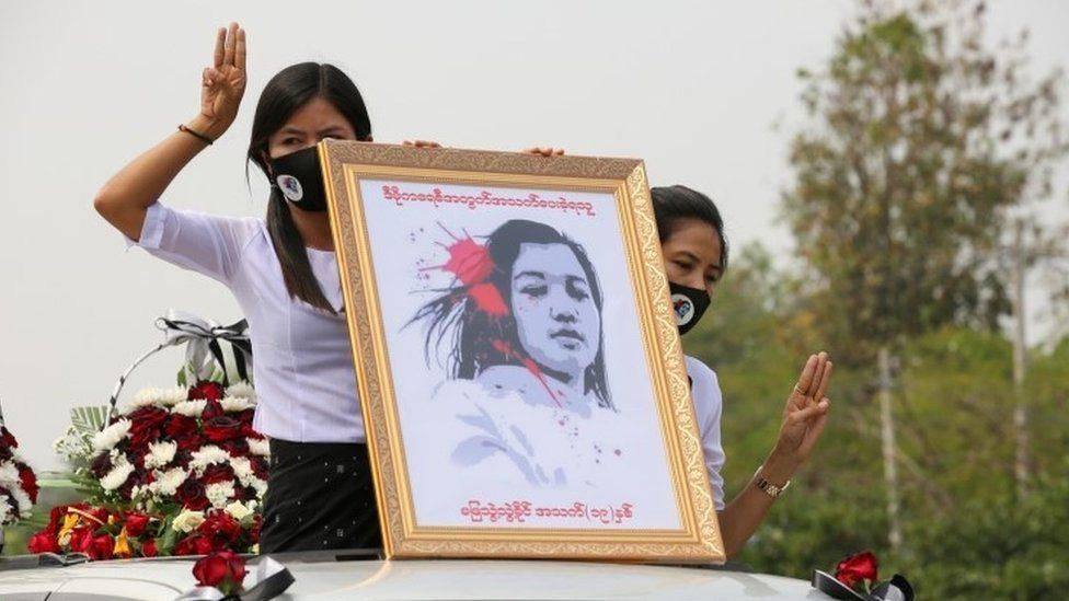Myanmar coup: Huge crowds mourn woman killed in protests